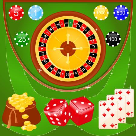 Vector illustratie van casino elementen: roulette, chips, dobbelstenen en kaarten.
