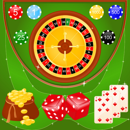 Vector illustration of casino elements: roulette, chips, dice and cards.