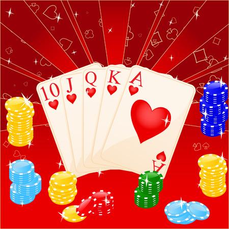 Vector illustratie van casino elementen: chips en kaarten.