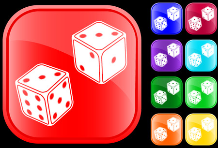 Icon of dice on shiny square buttons Vector