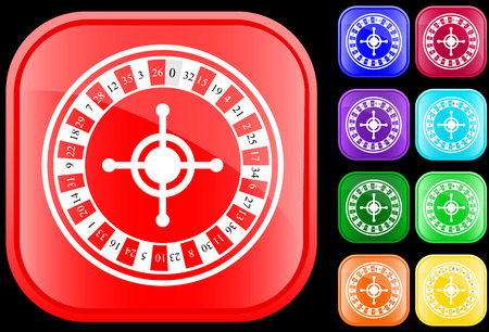 Icon of roulette on shiny square buttons