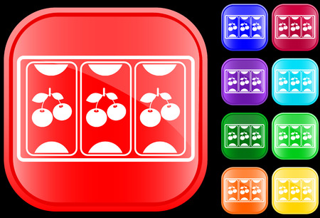Icon of slot machine on shiny square buttons Vector