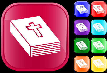Icon of bible on shiny square buttons Vectores