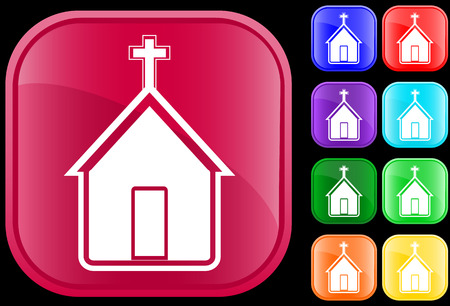 Icon of church on shiny square buttons
