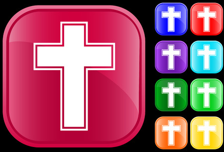 chapel: Cross  symbol on shiny square buttons
