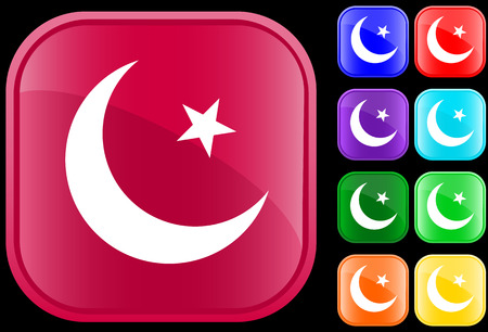 Islam symbol on shiny square buttons Vector