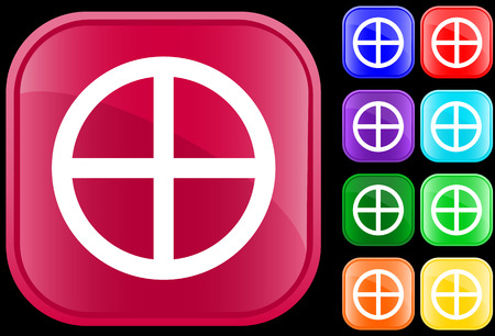 Medicine Wheel icon of Native Spirituality on shiny square buttons Vector