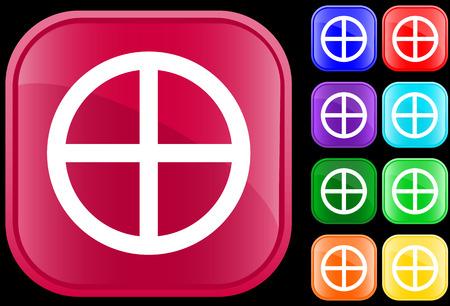 medicine wheel: Medicine Wheel icon of Native Spirituality on shiny square buttons