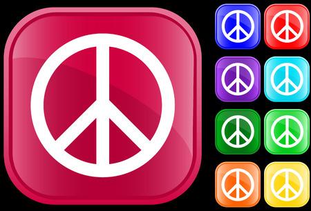 Vrede symbool op glanzende vierkante knoppen