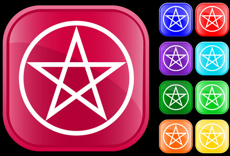 Pentagram symbol on shiny square buttons