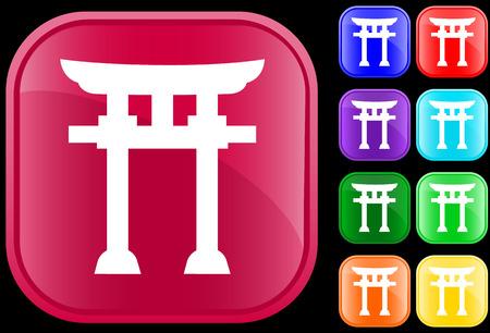 Icon of Shinto faith on shiny square buttons Vector