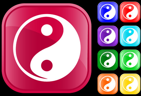 hope symbol of light: Icon of Tao faith, Yin Yang, on shiny square buttons
