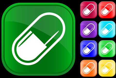 Icon of medical capsule on shiny buttons Vector
