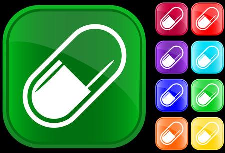 pastillas: Icono de m�dicos brillantes botones en c�psula Vectores