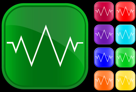 Icon of an electrocardiogram on shiny buttons