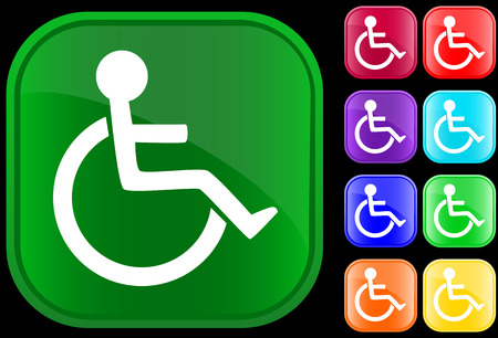Handicap icon on shiny buttons Vectores