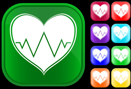 Icon of an electrocardiogram on shiny buttons Vector