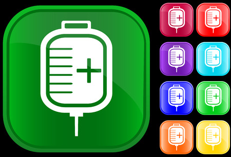 Icon of IV drip on shiny buttons Vector