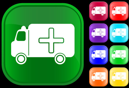 Medical ambulance icon on shiny buttons Vector