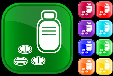 prescription: Icon of prescription bottle and pills on shiny buttons