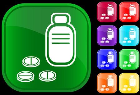 Pictogram van voorschrift fles en pillen op glanzende knoppen