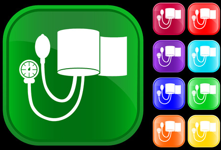 tonometer: Icon of blood pressure gauge on shiny buttons Illustration