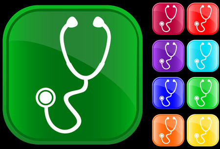 Icon of stethoscope on shiny buttons
