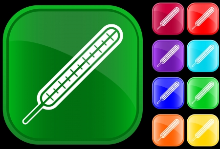 Icon of thermometer on shiny buttons