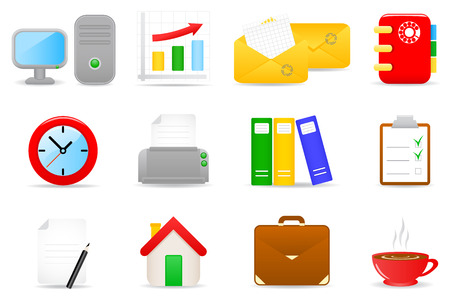 Vector illustration of office icons Фото со стока - 3105914