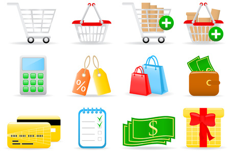 Vector illustration of shopping icons