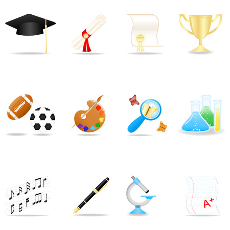 Icon set with school symbols Vector