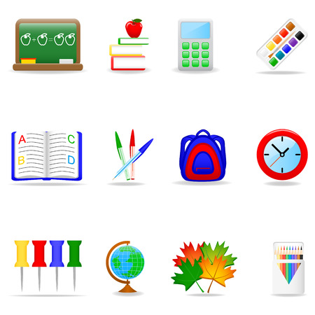 Icon set with school symbols Stock Vector - 3127087
