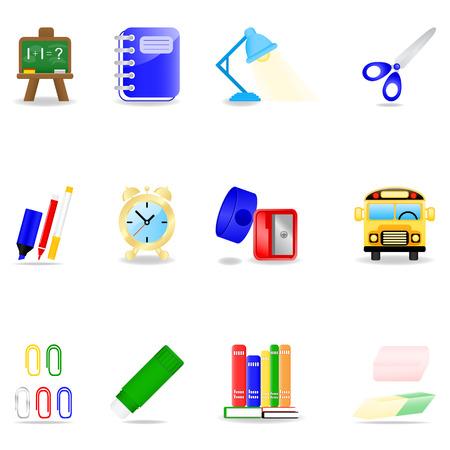 study icon: Icono de conjunto con la escuela s�mbolos