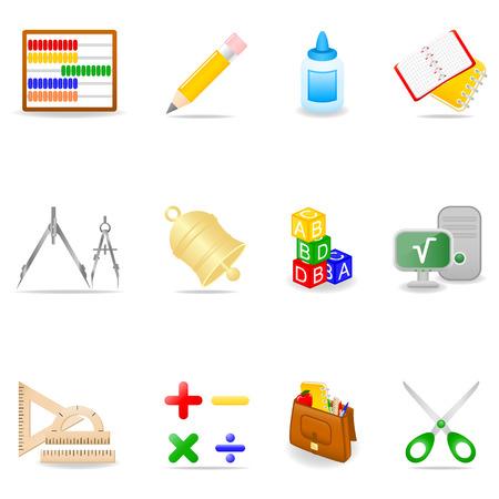Jeu d'icône de l'école symboles