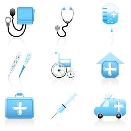 injectie: Set met medische en gezondheidszorg iconen Stock Illustratie