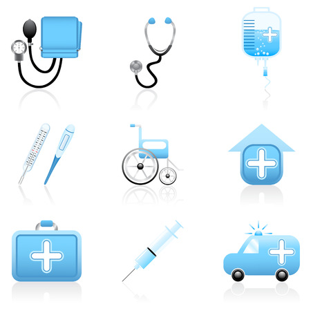 Set with medical and health icons