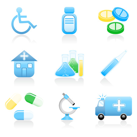 pharmaceuticals: Set with medical and health icons