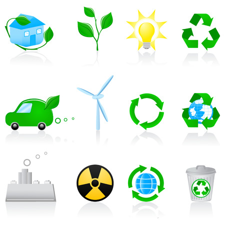 Vector illustratie met milieu-iconen