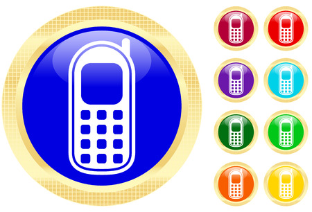 Cellphone icon on shiny buttons Vectores