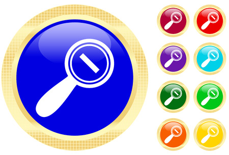 Icon of magnifying glass on shiny buttons Stock Vector - 3158337