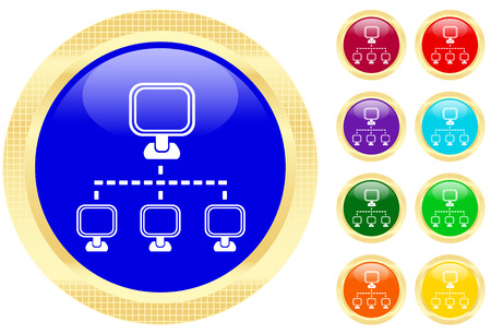 Networking icon on shiny buttons Vector