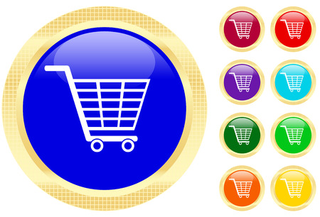 Shopping cart icon on shiny buttons Vector