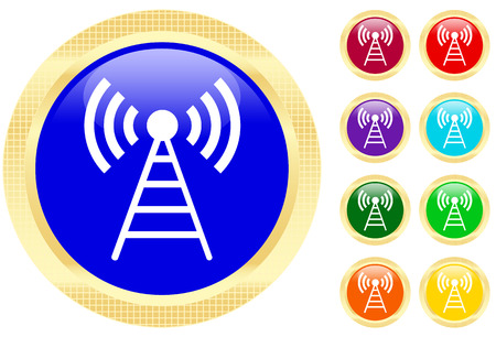 Antenna icon on shiny buttons Illustration
