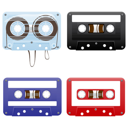 audio: Vector illustration of audio cassettes