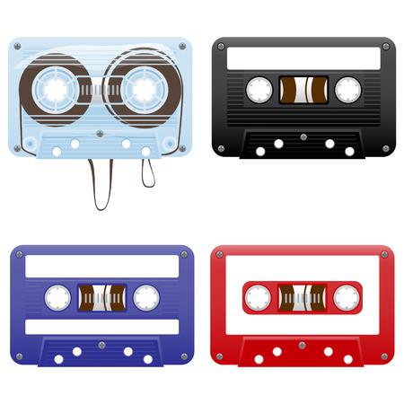 audio equipment: Vector illustration of audio cassettes