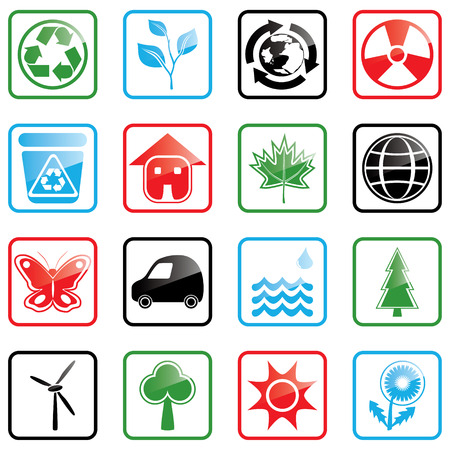 radiation pollution: Vector illustration with environmental icons