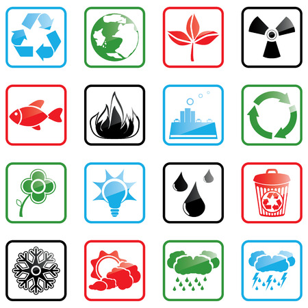Vector illustration with environmental icons Stock Vector - 3217774