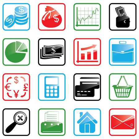 Vector illustratie van financiën en winkelen iconen