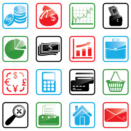 Vector illustration of finance and shopping icons Vector