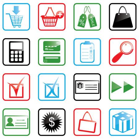 Vector illustratie van winkelen iconen Stock Illustratie
